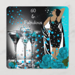 Fabulous 60 60th Birthday Teal Roses Martini Invitation