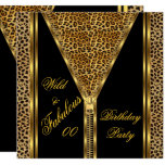 Fabulous Birthday Zipper Gold Wild Leopard Invitation