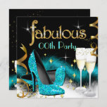 Fabulous Champagne Party Glitter Teal High Heel Invitation