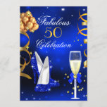 Fabulous Champagne Party Royal Blue Heels Gold Invitation