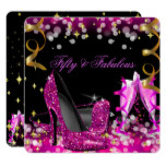 Fabulous Hot Pink Glitter High Heel Birthday Party Card