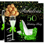 Fabulous Lime Heels Gold Black Birthday Party Invitation