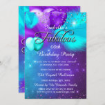 Fabulous Party Teal Blue Purple Silver Balloons Invitation