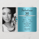 Fabulous Photo Birthday Party Teal Blue Invitation