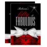 Fabulous Red Black Damask 50th Birthday Party Card