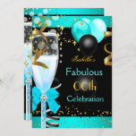 Fabulous Teal Blue Champagne Gold Birthday Party Invitation