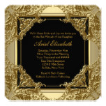 Fancy Black and Gold Bat Mitzvah Card