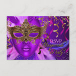 Feather Purple & Gold Mask Masquerade Party RSVP