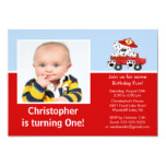 Fire truck Dalmatian Photo Birthday Invitation