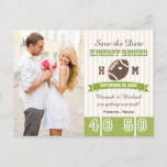 Football Themed Wedding Save the Date Announcement Postcard