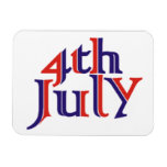 Fourth 4th of July red blue text design Magnet
