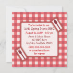 Gingham Picnic BBQ Invitation