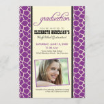 Giraffe Print Graduation Announcement (purple)