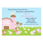 Girls Barn Animal Fun Birthday Party Card