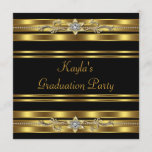 Girls Black and Gold Graduation Party Invitation