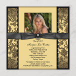 Girls Black and Gold Photo Graduation Invitation