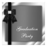 Girls Black and White Graduation Party Card