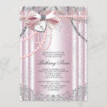 Girls Pink and Gray Pearl First Communion Invitation