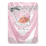 Girls Pink and Silver Photo Baptism Card