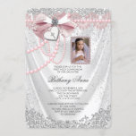 Girls Pink and White Satin Photo First Communion Invitation
