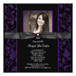 Girls Purple and Black Graduation Card