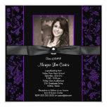 Girls Purple and Black Graduation Invitation