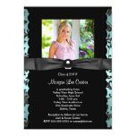 Girls Teal Blue Photo Graduation Announcement