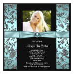 Girls Teal Blue Photo Graduation Card