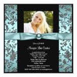 Girls Teal Blue Photo Graduation Invitation