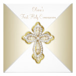 Girls White and Gold First Communion Card