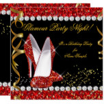 Glamour Party Night Red Glitter Gold Black Shoes Card