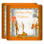 Glitter Orange Gold High Heels Birthday Party Invitation