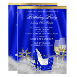 Glitter Royal Blue High Heels Gold Champagne Party Invitation