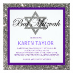 Glitter Star of David Bat Mitzvah Invitation