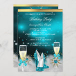 Glitter Teal High Heels Silver Gold Champagne Invitation