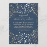 Gold and Navy Baby's Breath Rehearsal Dinner Invitation