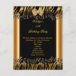 Gold Black Zebra Elegant Birthday Party Invitation