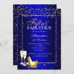 Gold Blue 50 Fabulous Birthday champagne party Invitation
