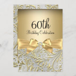 Gold Bow Floral Swirl 60th Birthday Party Invitation