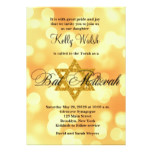 Gold Glitter Star of David Bat Mitzvah Invitation