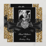Gold Lace Diamond Heart Photo Birthday Party Invitation
