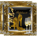 Gold Leopard Black High Heels Shoes Birthday Invitation