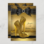 Gold Leopard High Heel Black Bow Birthday Party 2 Invitation