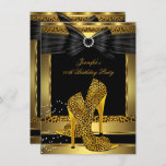 Gold Leopard High Heel Shoe Black Birthday Party Invitation