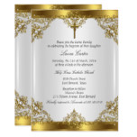 Gold White Pearl Damask Cross Baptism Christening Card