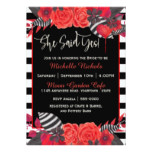 Gothic Red Watercolor Bouquet Bridal Shower Card