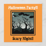 Graveyard Halloween Party Invitation orange