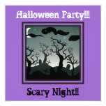 Graveyard Halloween Party Invitation purple