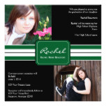 Green and Black Ribbon Photo Graduation Card