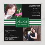 Green and Black Ribbon Photo Graduation Invitation